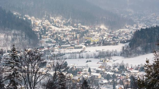 Panoramic view of Szczyrk town in winter, Beskid Mountains, Poland