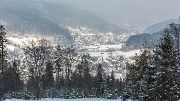 Panoramiv winter view of Beskid Mountains in Szczyrk, Poland