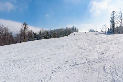Ski slope in Szczyrk in Beskid Mountains, Poland
