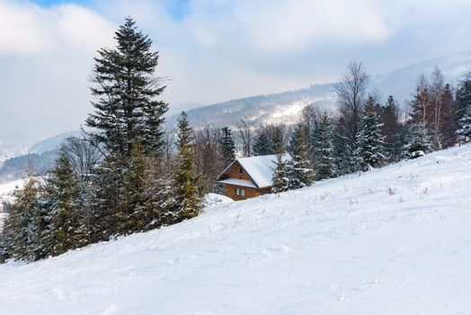 Wooden cottage in a snowy mountains, Szczyrk, Poland