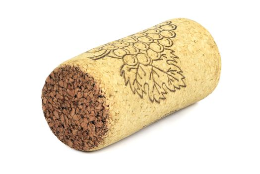 Wine cork isolated on white background with clipping path