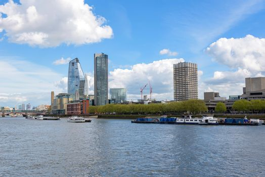 Panorama of south bank of the Thames River in central London, UK