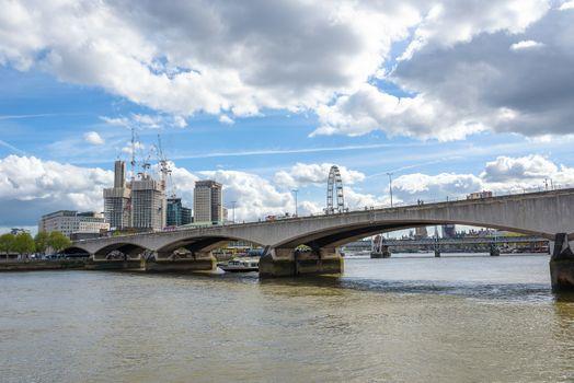 Vief of Waterloo Bridge over Thames River in London, UK