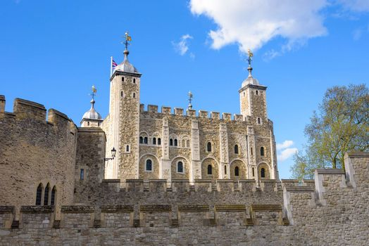 The White Tower of the historic fortress Tower of London, UK