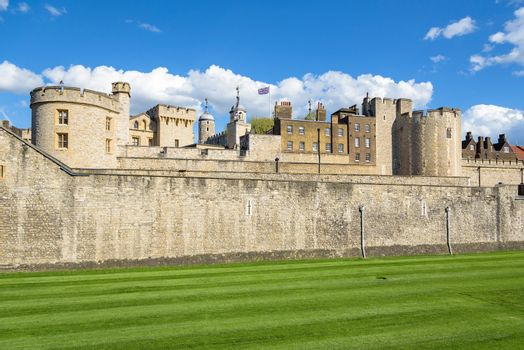 Architecture of Tower of London, medieval prison and famous landmark of british capital