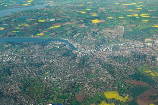 View of Ipswich city in eastern England from the plane window