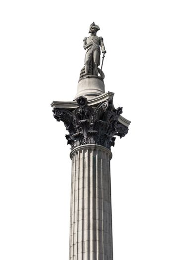 Nelsons Column isolated on white background with clipping path