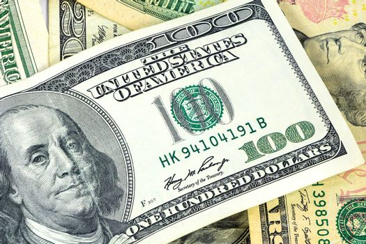 Closeup of 100 dollar banknote as financial background
