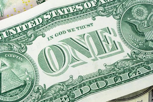 Closeup of 1 dollar banknote as financial background
