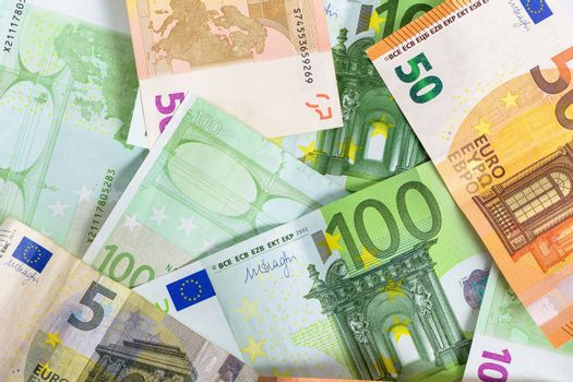 Financial background made of heap of euro banknotes