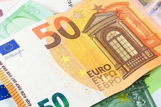 Closeup of 50 euro banknote as financial background