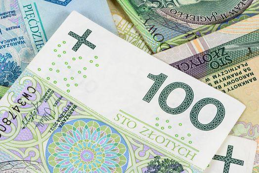 Closeup of 100 polish zloty banknote. Financial background