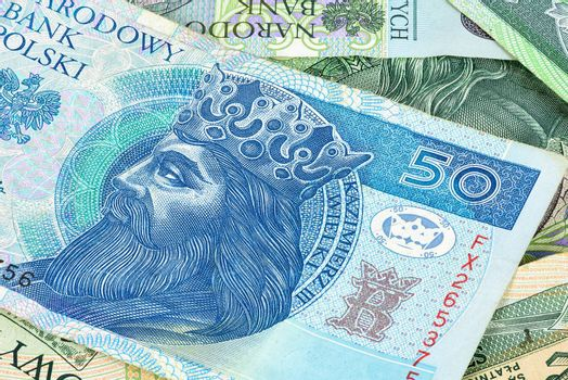 Closeup of 50 polish zloty banknote. Financial background