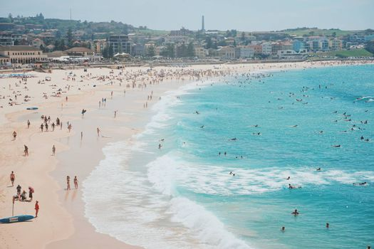 People relaxing in summer vacation on the Bondi beach in Sydney, Australia
