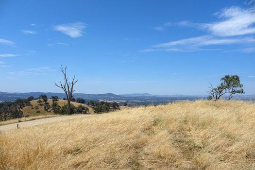 Scenic view road to the hill on the way of Tallangatta in Victoria, Australia