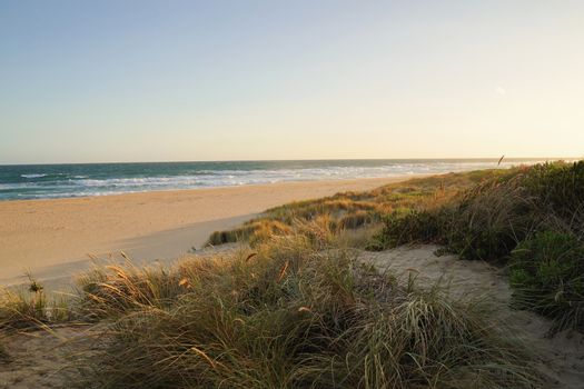 Beautiful view beach of lakes entrance with sunset in Victoria, Australia