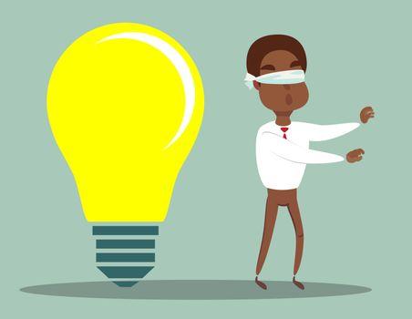 Cartoon blind black african american businessmen