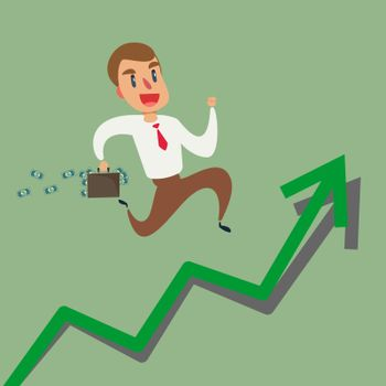 Businessman running up growth arrow graph. Concept of Investment financial and success or rising successful