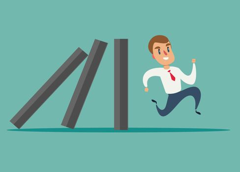 Business concept of a businessman run away from domino effect