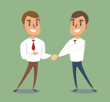 Two businessmen shaking hands to seal an agreement. Vector.