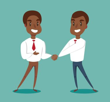 Two black african american businessmen shaking hands to seal an agreement. Vector.