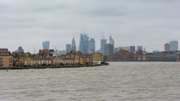 View of River Thames in London docklands
