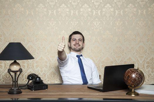 happy businessman is a good employee