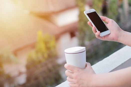 Close up of woman hands using smartphone and holding thermos mug, copy space with sunlight