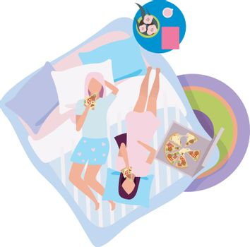 Girls night flat vector illustration. Girlfriends in pajamas eating pizza on bed cartoon characters. Sleepover, slumber party. Best friends spending time together, pastime. Female friendship concept
