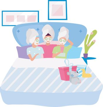 Spa party flat vector illustration. Girlfriend applying facial masks cartoon characters. Sleepover, slumber night party. Friends spending beauty time together, pastime. Female friendship concept