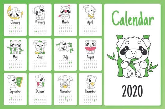 Cute sloth and panda 2020 calendar design template with cartoon kawaii characters. Wall poster, calender creative pages layout pack. Childish, girlish month planner mockup with doodle vector animals