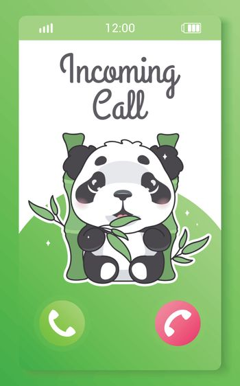 Incoming call kids mobile app screen with cartoon kawaii character. Smartphone girlish application. Accept and decline call buttons with cute panda bear. Green phone page UI, UX interface and animal