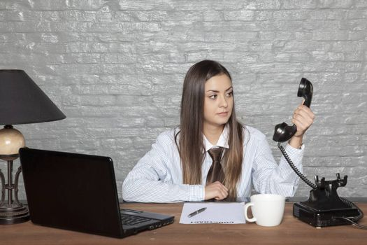 business woman does not believe what she listens to