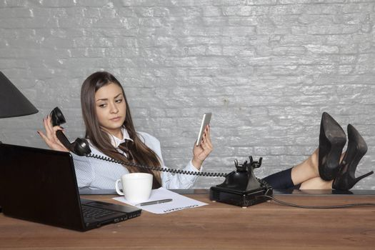 business woman has enough phone calls