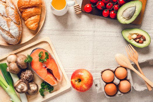 Healthy Nutrition Natural Ingredient Food Concept, Nutrient Health Balanced With Organic Vegetables on Table. Mixed Vitamin From Fresh Fruit, Nutritionist Food Advise for Healthcare With Copy Space