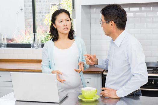 Expectant couple having argument