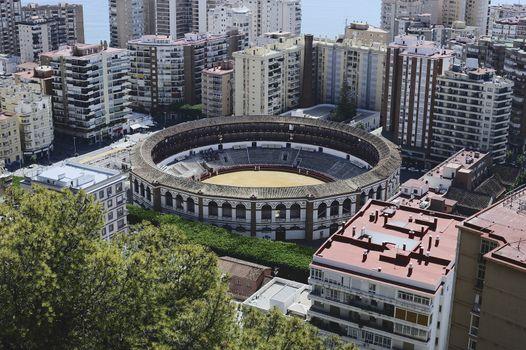 Bullring And Malaga City, Andalusia, Spain