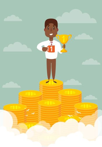 Businessman stands on large stack of coins. Vector illustration