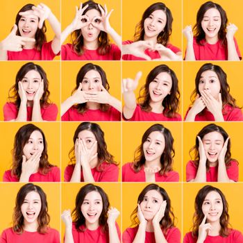 happy asian girl with different facial expression face set