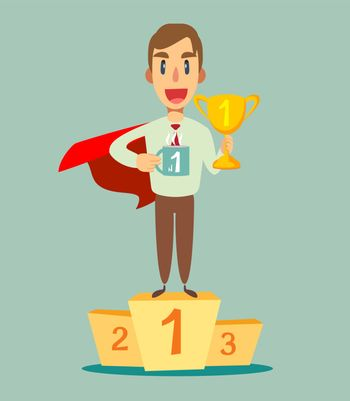 Young super hero with a proud, happy and confident expression, smiling and showing off success while gesturing victory, celebrating triumphantly. Vector flat design illustration.