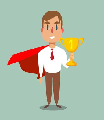 Businessman in a red cloak holding winner cup. Superhero of business. Vector flat design illustration.