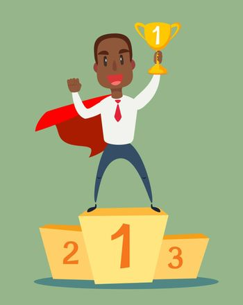 Businessman superhero standing on the winning podium and holding winner cup. Vector flat design illustration.