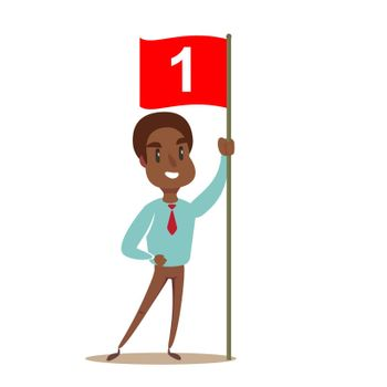 Happy businessman holding number one flag. Successful Start up business concept. Vector illustration