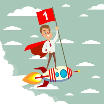 Happy businessman holding number one flag standing on rocket ship flying through sky. Start up business concept.