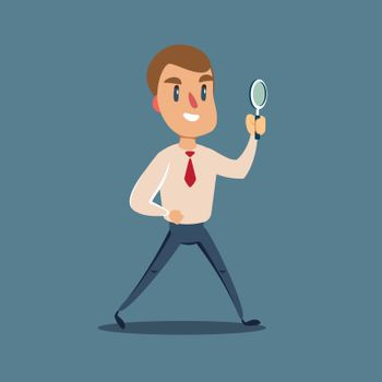 Vector flat design illustration. Manager character looking through a magnifying glass.