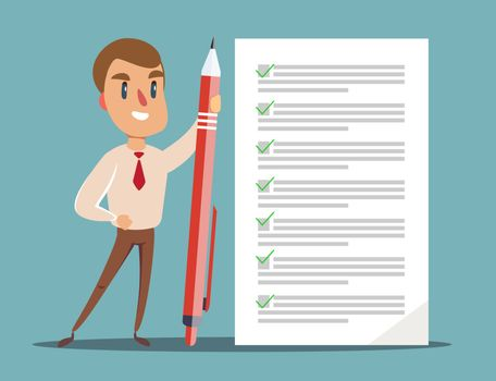 Happy businessman holding a pencil looking at completed checklist on clipboard. Stock flat vector illustration.