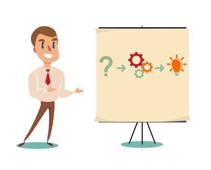 Professor teaching business theories