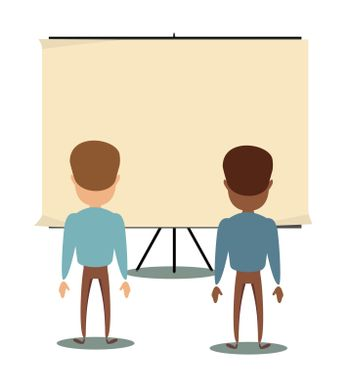 People are looking at the empty poster on wall - back view. Stock flat vector illustration.