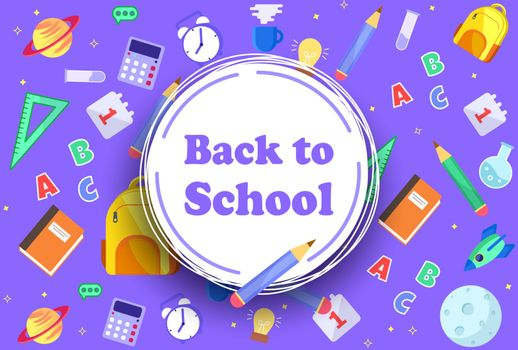 Back to School banner with icons of education, science objects and office supplies. Vector background