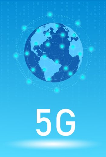 5G wireless internet wifi connection. Vector background